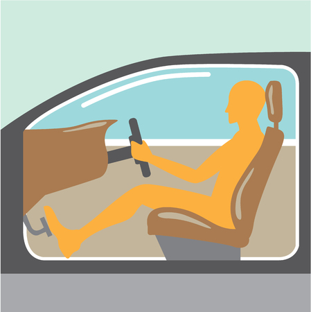 Car side view Person no airbag no seat belt