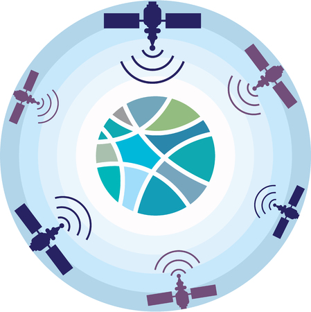 Satellites space network illustration icon  image