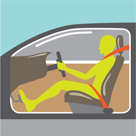 Driver in the car seat belt illustration clip-art image file