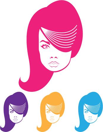 Model hair fashion illustration clip-art Archivio Fotografico