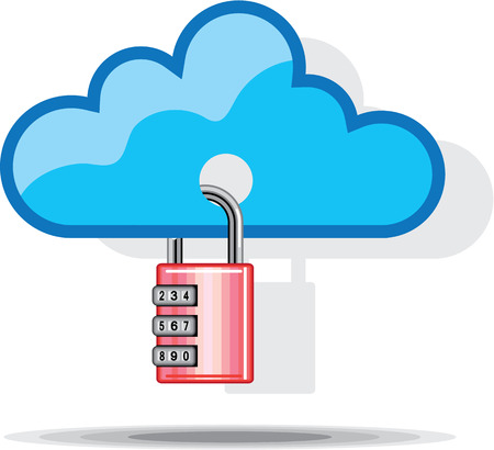 Combination lock to Cloud Networking illustration clip-art image