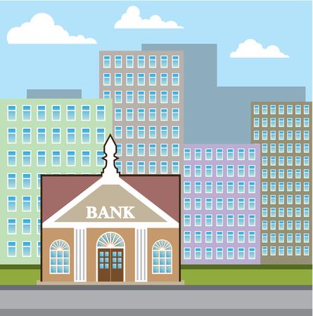 Bank Gebäude Stadt Himmel Illustration ClipArt-Bild Standard-Bild - 88298210