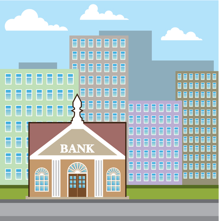 Bank building city sky illustration clip-art image Stock Photo