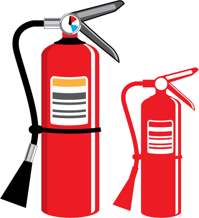 suppression: Fire extinguisher illustration clip-art image Stock Photo