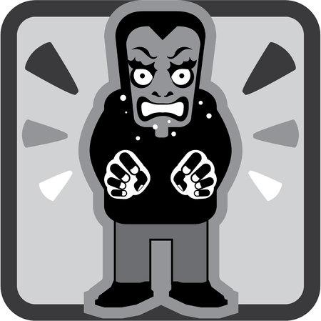 Mad man icon illustration clip-art image Archivio Fotografico