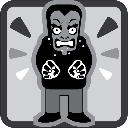 Mad man icon illustration clip-art image Stock Photo
