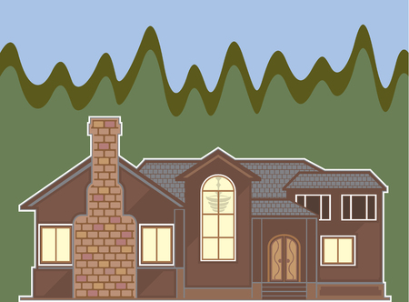 Fireplace house illustration clip-art image Stock Photo