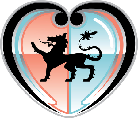 Royal lion Hearty Shield vector illustration clip-art image Фото со стока