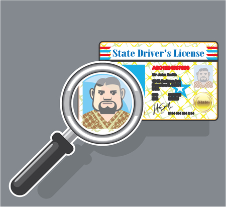 Drivers License under Magnifying glass  illustration