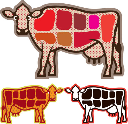 Beef Cuts illustration clip-art image Stock Photo