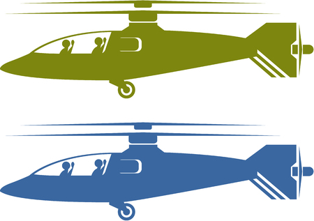 Modern helicopters  illustration clip-art image choppers