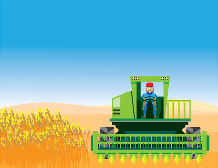 Combine Mows and Harvests crops Stock Photo