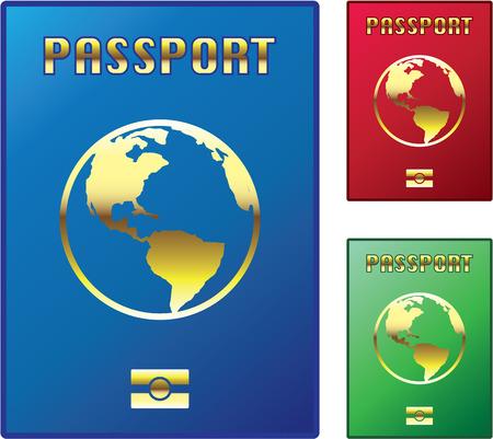 여권 파란색 빨간색 녹색 변형 버전 이미지