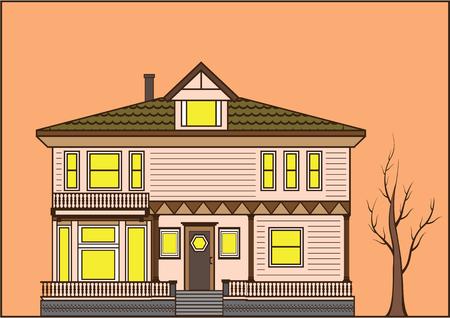 New world old fashioned house  illustration clip-art Stock Photo