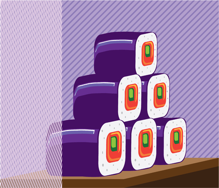 Sushi illustration clip-art image Archivio Fotografico