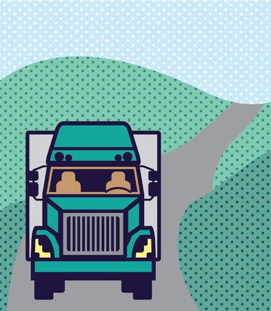 Truck front Color illustration clip-art image Stock Photo
