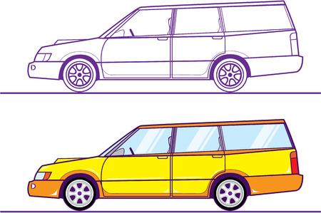 Wagon illustration clip-art image automobile Archivio Fotografico