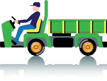 Small green utility truck illustration clip-art image