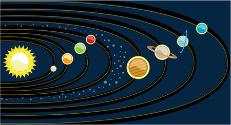 Planetary system illustration clip-art image Imagens