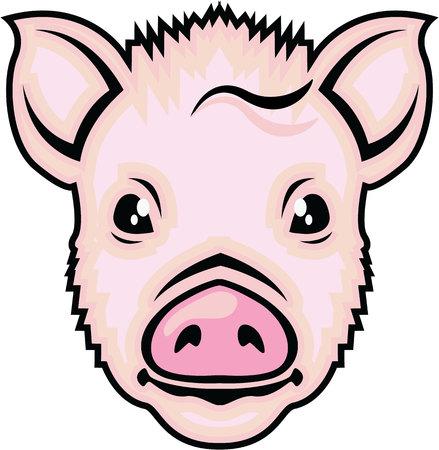 Piglet head illustration clip-art image  file Stok Fotoğraf