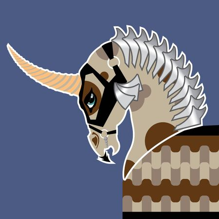 battle unicorn vector illustration