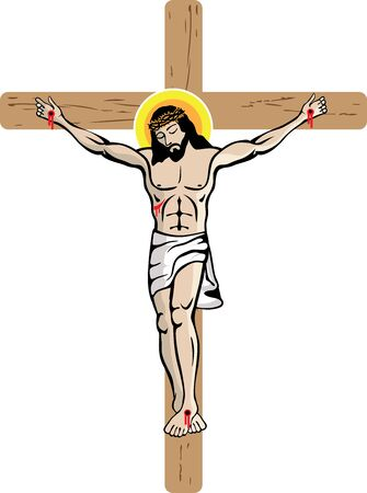 Jesus on the Cross Illustation Vettoriali
