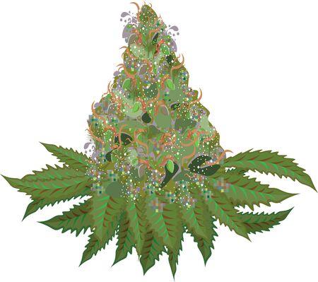 Élément de vecteur de fleur de marijuana