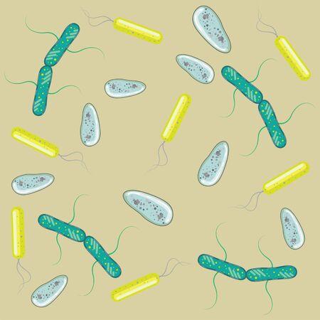 color de bacterias bajo microscopio