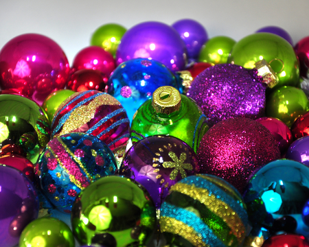 group of christmas baubles: Group of multi-colored Christmas baubles