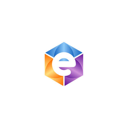 Abstract Initial Letter E Logo Graphic. Hexagonal Shape with Negative Space E Icon Colorful Concept.