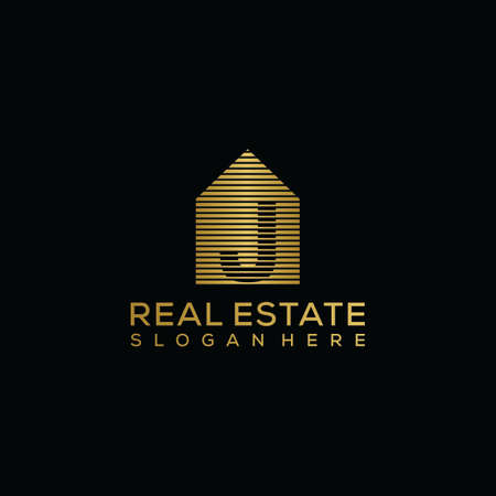 initial letter j house logo. real estate logo concept. golden vector graphic design