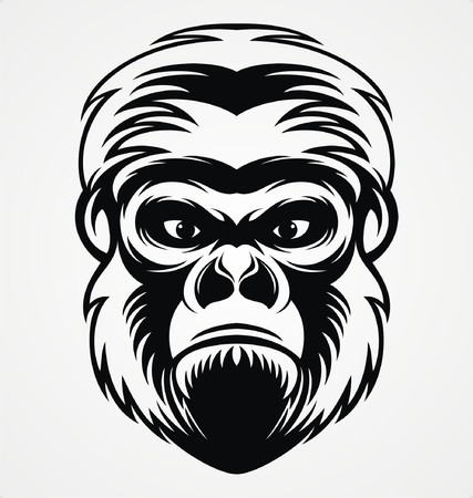 tribalism: Gorilla Head Illustration