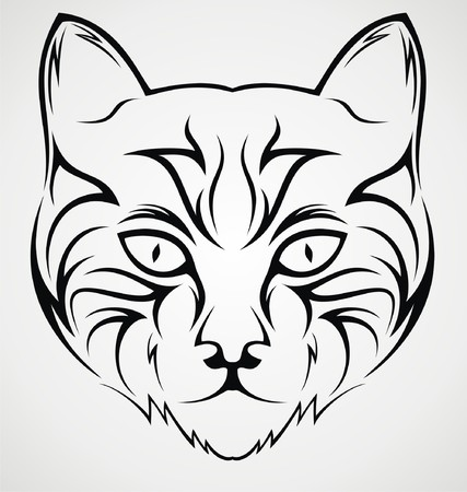 tribalism: Cat Face Tattoo Design Illustration