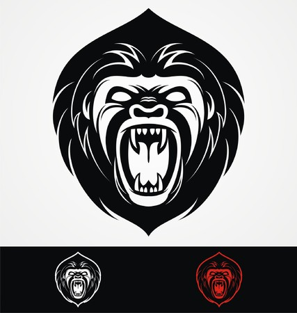 tribalism: Angry Gorilla Head Mascot Illustration