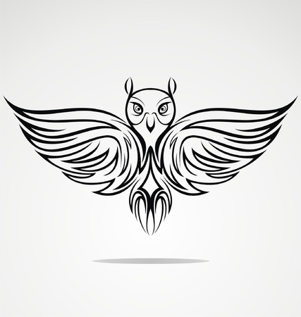 tribalism: Owl Bird Tribal Illustration