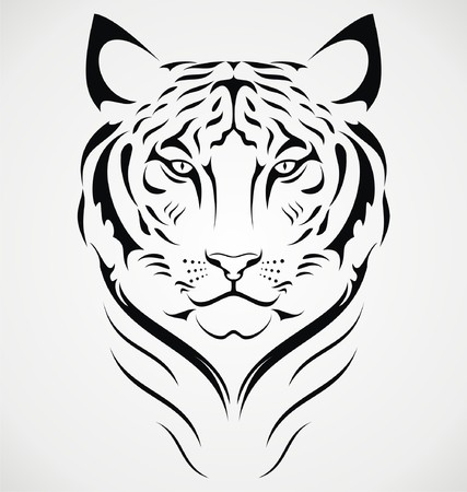 tribalism: Bengal Tiger Tattoo Design Illustration