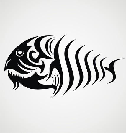 deep sea fishing: Tribal Fish Illustration
