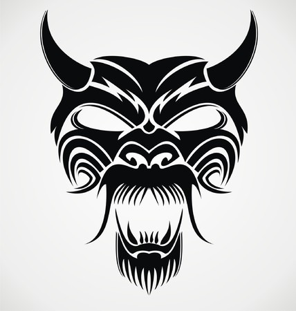 tribalism: Devil Mask Illustration