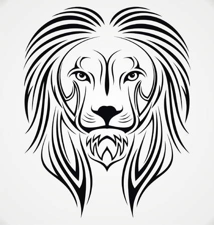 tribalism: Lion Head Tribal Illustration