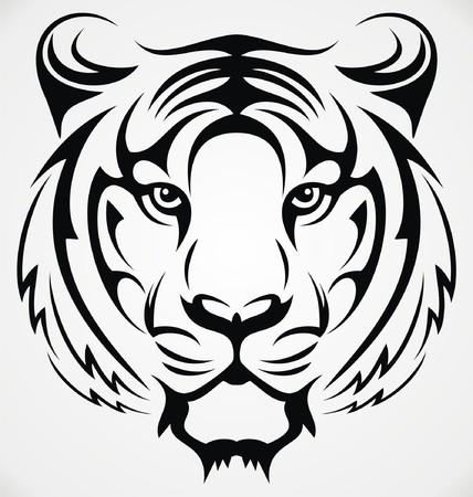 tribal tattoo design: Tribal Tiger Head
