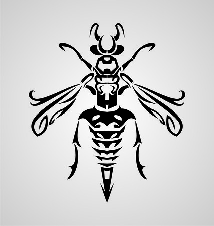 tribalism: Tribal Bee Illustration