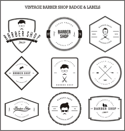 barber shop: Vintage Barber Shop Badge & Labels