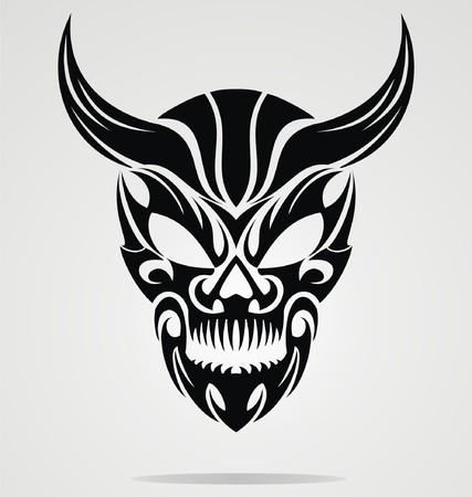devil horns: Demon Head Tribal
