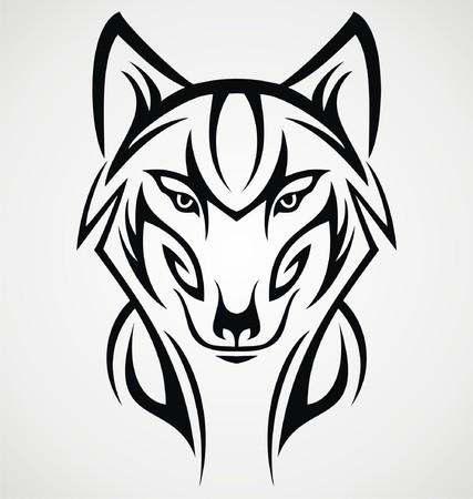 tribalism: Wolf Head Tattoo Design Illustration