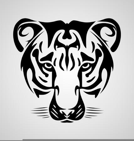 animal heads: Tiger Face Illustration