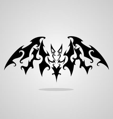 tribalism: Bat Tattoo Design Illustration