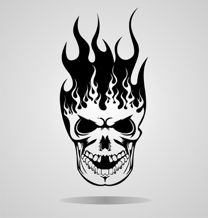 burning: Burning Skull Tattoo Illustration