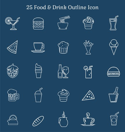 wine and food: 25 Food & Drink Outline Icon Illustration