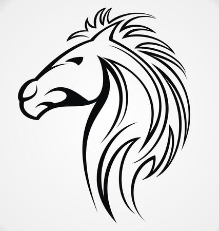 tribalism: Horse Head Tattoo Design Illustration