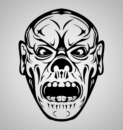 blood draw: Zombie Face Tribal Illustration
